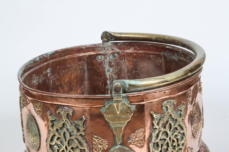 Large Moroccan Moorish Copper and Brass Planter For Sale 2