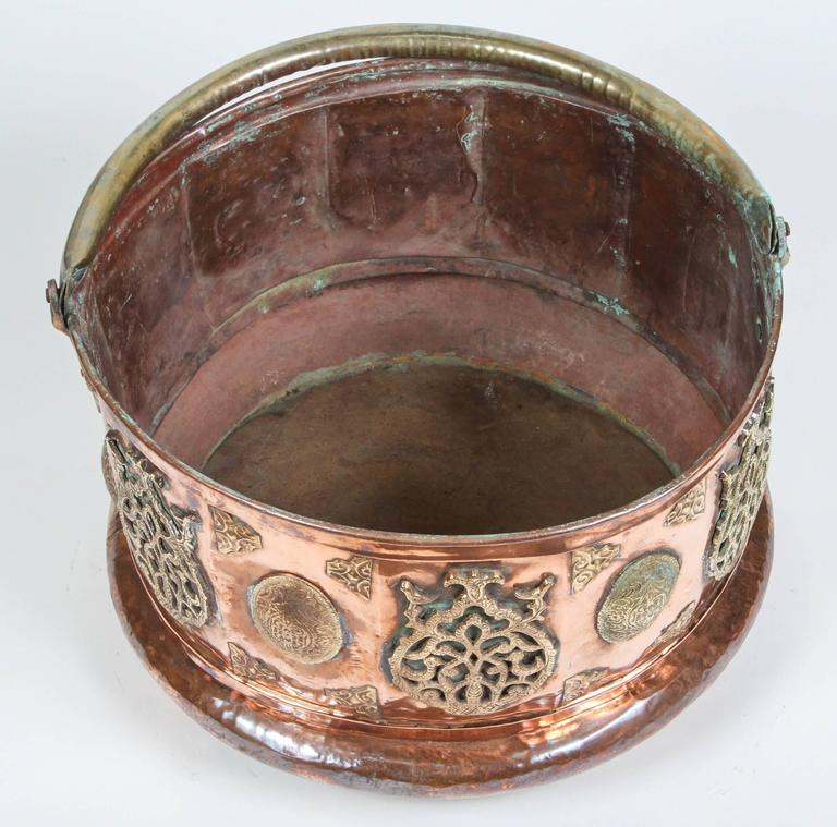 Large Moroccan Moorish Copper and Brass Planter For Sale 4