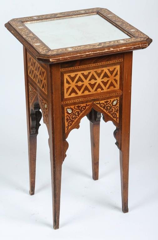 Levantine Hispano-Moresque wood occasional Moorish Syrian style side table. Very nice, elegant wood Syrian marquetry square side table with Moorish arches. Beautifully patterned intricate inlay of different kind of precious fruitwood. Mirrored top,