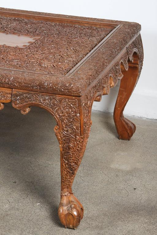 Indonesian Anglo Indian Hand Carved Coffee Table For