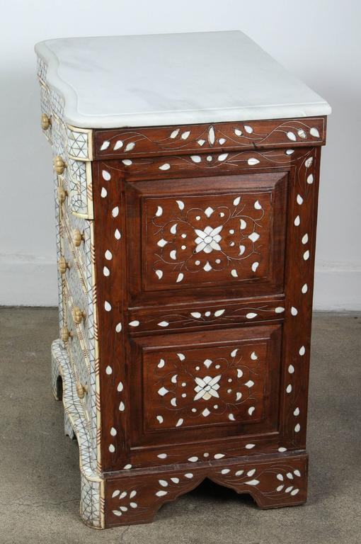 Pair Of Mother Of Pearl Inlay Syrian Nightstands At 1stdibs