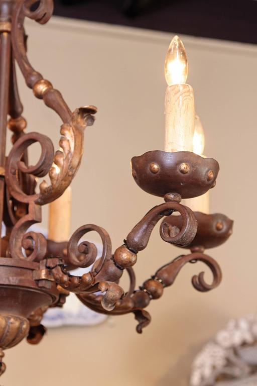 Forged 19th Century, French Louis XV Verdigris and Gilt Six-Light Iron Chandelier For Sale