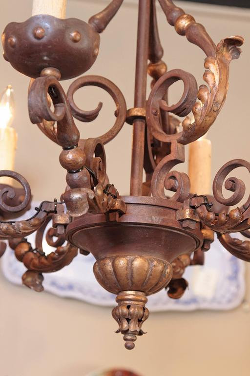 19th Century, French Louis XV Verdigris and Gilt Six-Light Iron Chandelier In Excellent Condition For Sale In Dallas, TX
