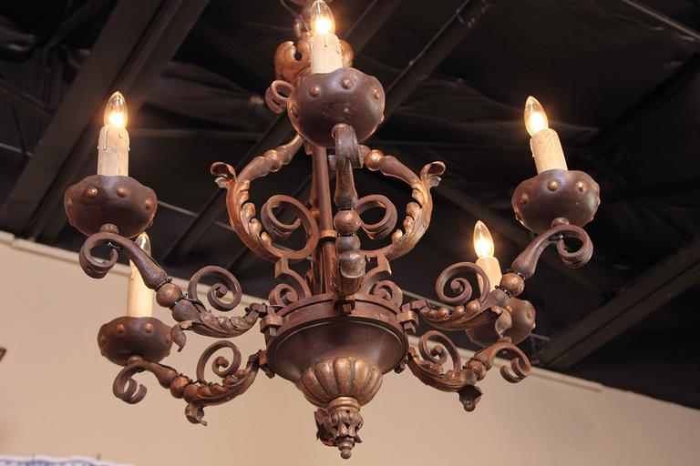 19th Century, French Louis XV Verdigris and Gilt Six-Light Iron Chandelier For Sale 5