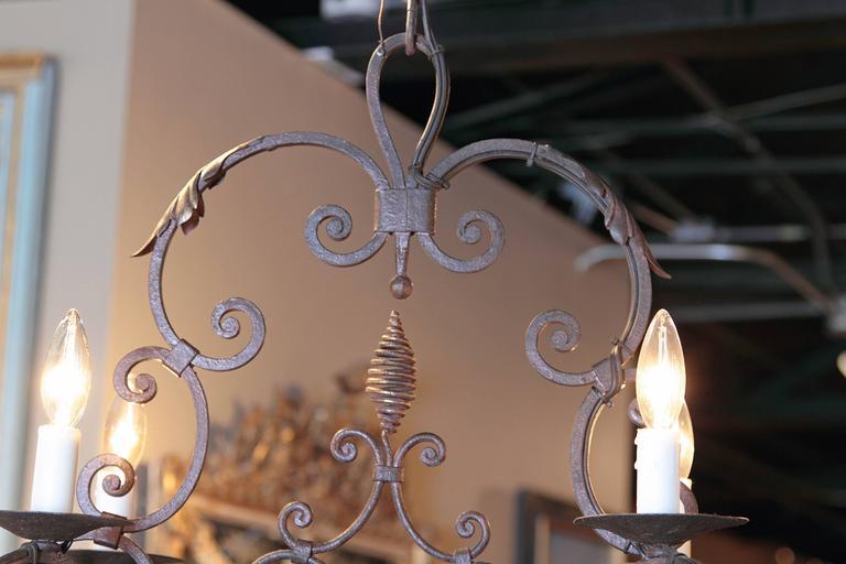 Gilt Early 20th Century French Verdigris Six-Light Iron Chandelier with Fleur-de-Lys For Sale