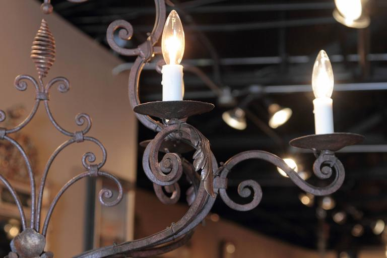 Early 20th Century French Verdigris Six-Light Iron Chandelier with Fleur-de-Lys In Excellent Condition For Sale In Dallas, TX