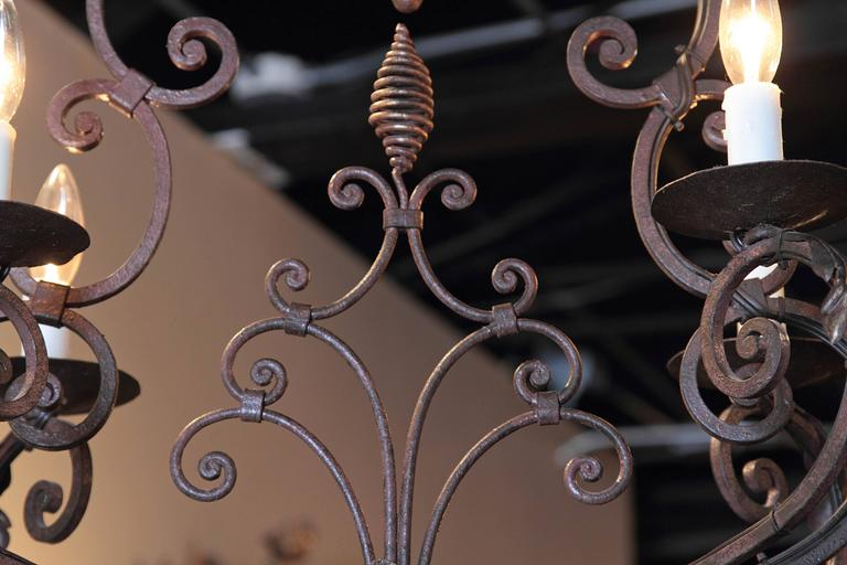 Early 20th Century French Verdigris Six-Light Iron Chandelier with Fleur-de-Lys For Sale 2