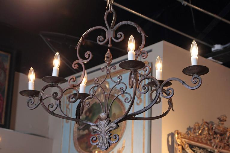 Early 20th Century French Verdigris Six-Light Iron Chandelier with Fleur-de-Lys For Sale 3