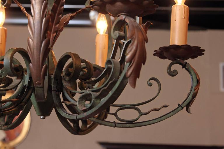 Louis XV Early 20th Century French Verdigris Six-Light Iron Chandelier For Sale
