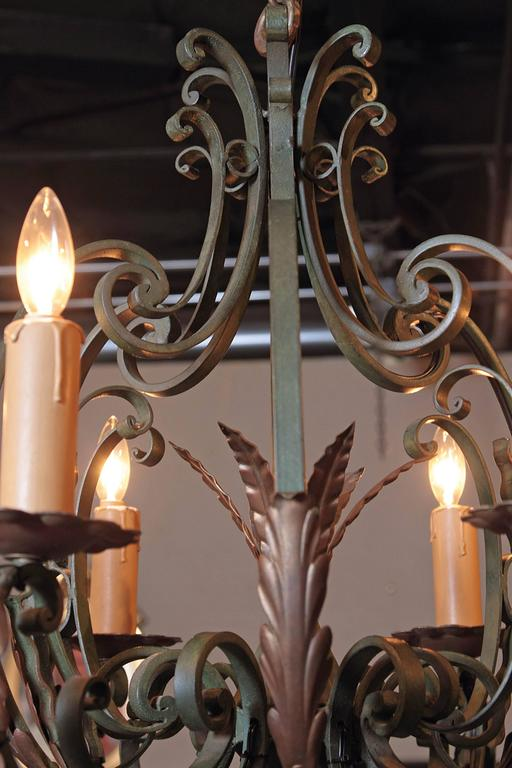 Gilt Early 20th Century French Verdigris Six-Light Iron Chandelier For Sale