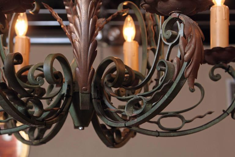 Early 20th Century French Verdigris Six-Light Iron Chandelier In Excellent Condition For Sale In Dallas, TX