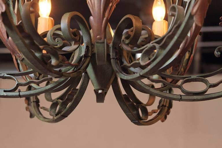 Early 20th Century French Verdigris Six-Light Iron Chandelier For Sale 2