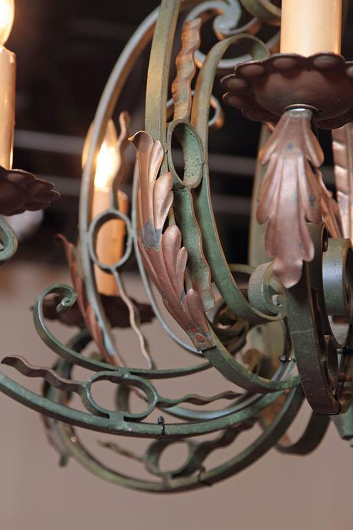Early 20th Century French Verdigris Six-Light Iron Chandelier For Sale 3