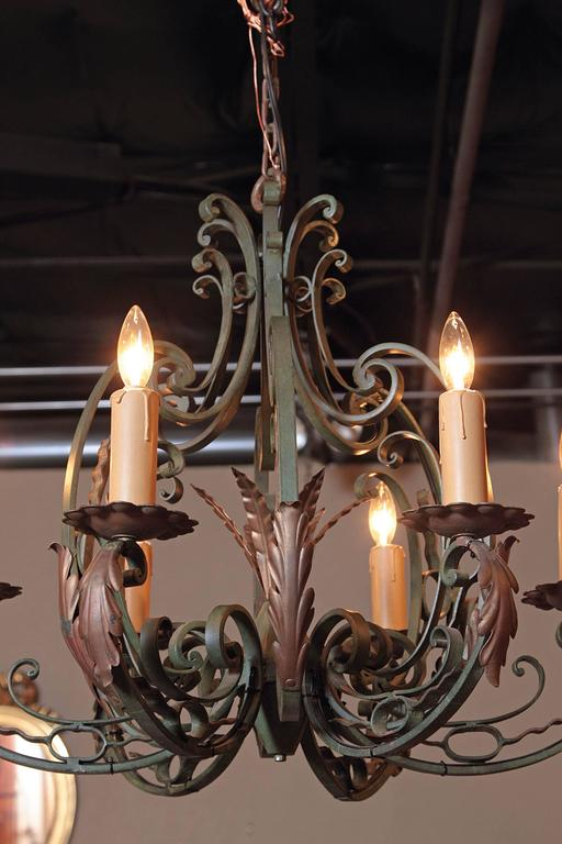 Early 20th Century French Verdigris Six-Light Iron Chandelier For Sale 4