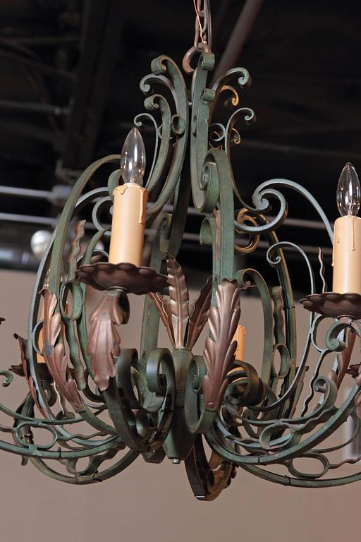Early 20th Century French Verdigris Six-Light Iron Chandelier For Sale 5