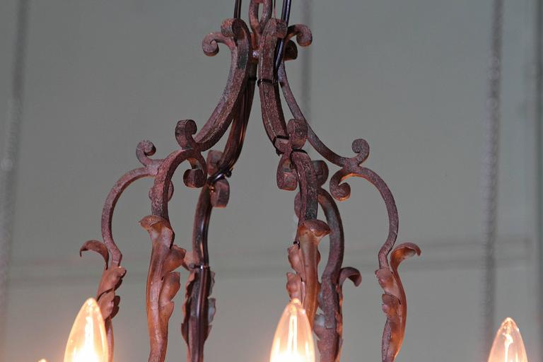 Early 20th Century French Verdigris Ten-Light Iron Chandelier In Excellent Condition For Sale In Dallas, TX