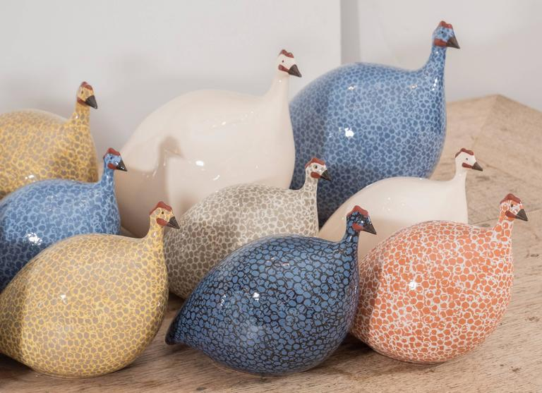 A charming group of ceramic guinea hens in different sizes and colors. These look great as singles or in a grouping, and are a wonderful accessory in a kitchen, family room or anywhere. Made in France and painted by hand. Small ($180) Please contact