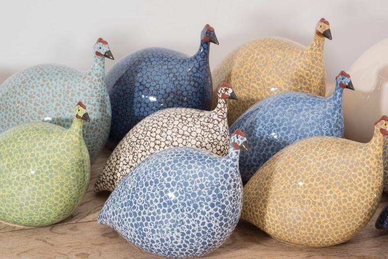 French Small Ceramic Guinea Hen For Sale