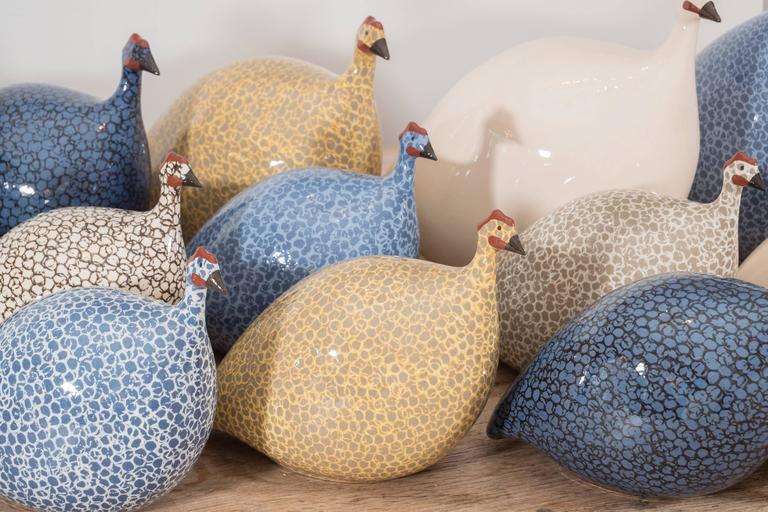 Small Ceramic Guinea Hen In Excellent Condition For Sale In New York, NY