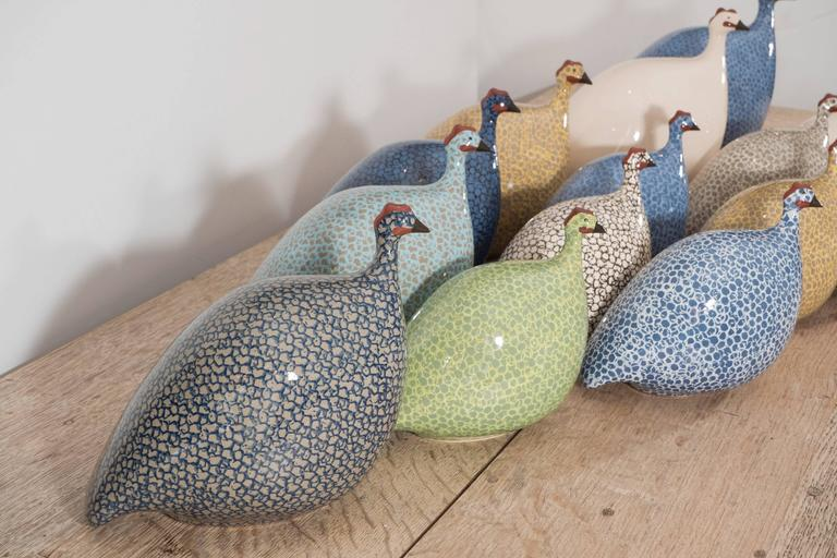 Contemporary Small Ceramic Guinea Hen For Sale