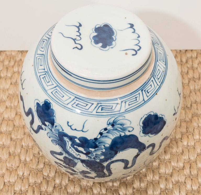 Pair of Blue and White Chinese Export Ginger Jars 4