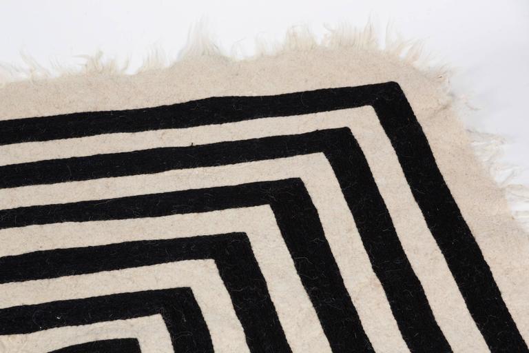 Hand loomed swedish black and white wool rug for sale at for Black and white wool rug