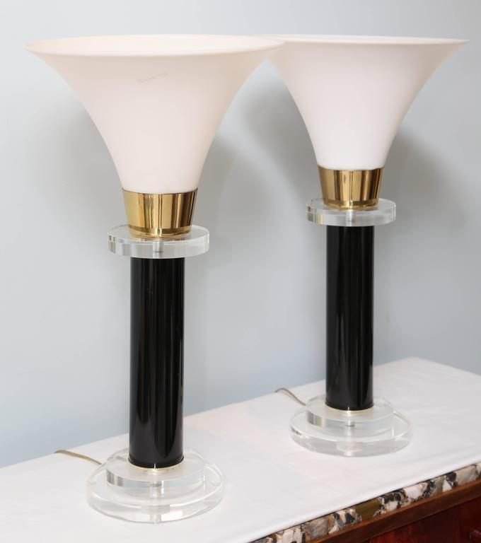 Pair of Torcheres, Midcentury, Black and Clear Lucite, Milk Glass Shade 3
