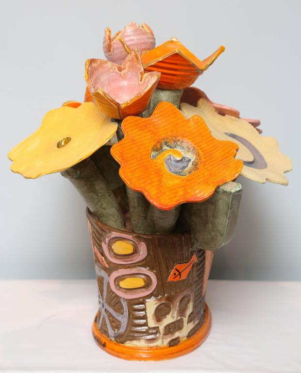Ceramic Centerpiece Flowers by Danish Artist Kvelind, Modern and Surrealistic  For Sale 1