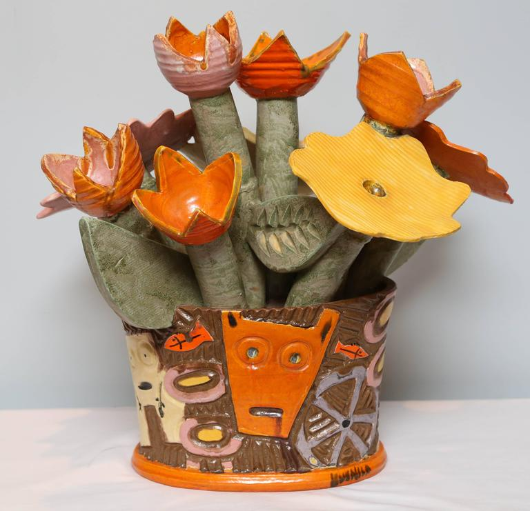 Ceramic Centerpiece Flowers by Danish Artist Kvelind, Modern and Surrealistic  For Sale 2