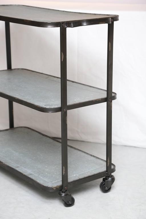Industrial SALE! SALE! SALE! INDUSTRIAL METAL BAR CART 3 SHELVES  indoor outdoor For Sale