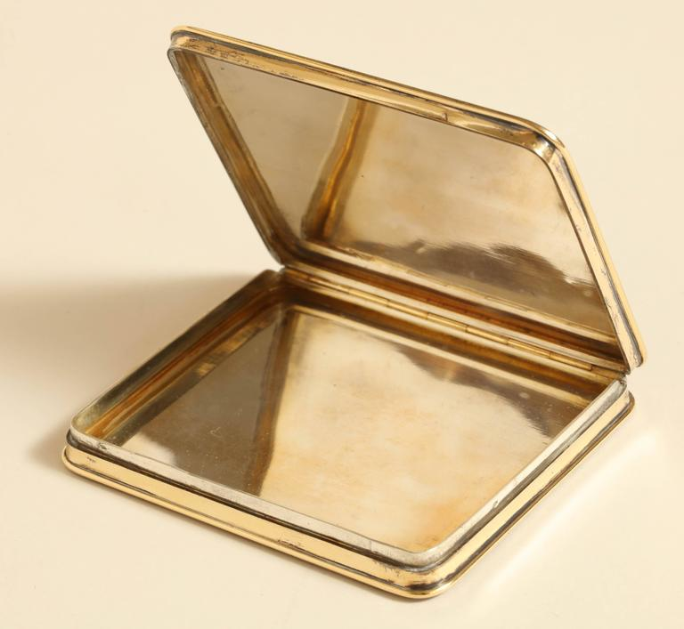 Gustave Keller Freres French Art Deco Silver, Gold & Coquille D'oeuf  Enamel Box In Excellent Condition For Sale In New York, NY