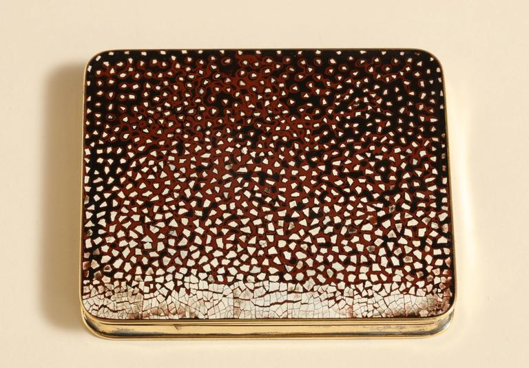 20th Century Gustave Keller Freres French Art Deco Silver, Gold & Coquille D'oeuf  Enamel Box For Sale