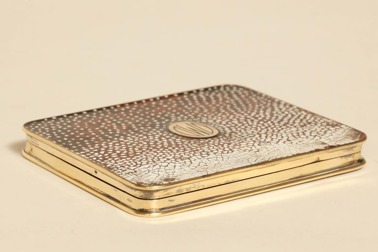 Sterling Silver Gustave Keller Freres French Art Deco Silver, Gold & Coquille D'oeuf  Enamel Box For Sale