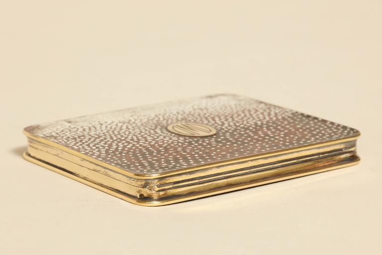 Gustave Keller Freres French Art Deco Silver, Gold & Coquille D'oeuf  Enamel Box For Sale 1