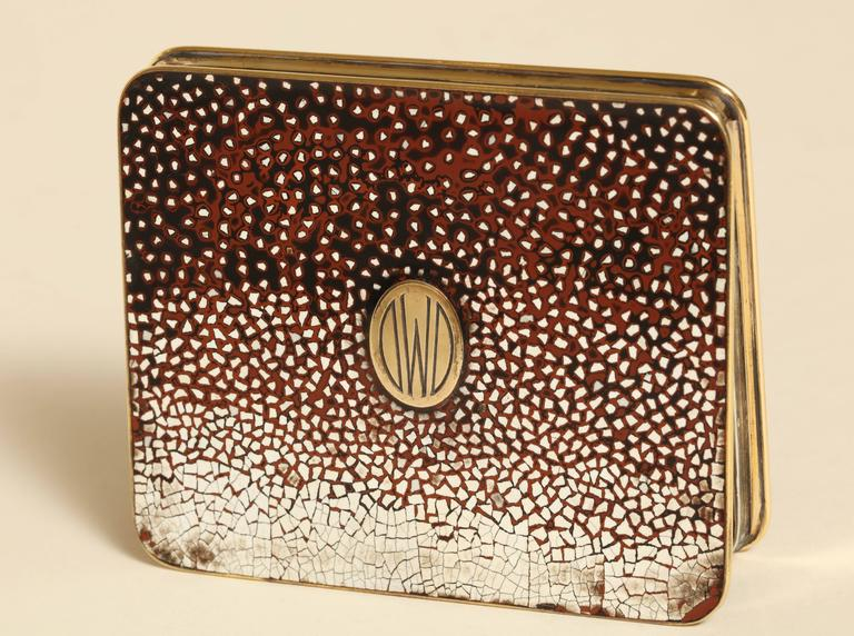 Gustave Keller Freres French Art Deco Silver, Gold & Coquille D'oeuf  Enamel Box For Sale 2