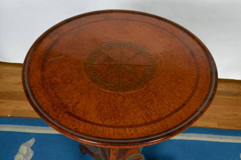 Edwardian Burled Walnut Tea Table with Dish Top For Sale