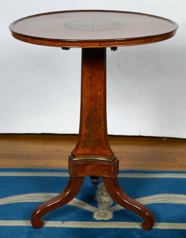 Burled Walnut Tea Table with Dish Top 5