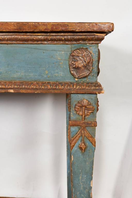 Italian Neoclassical Style Parcel-Gilt and Painted Console Table 3