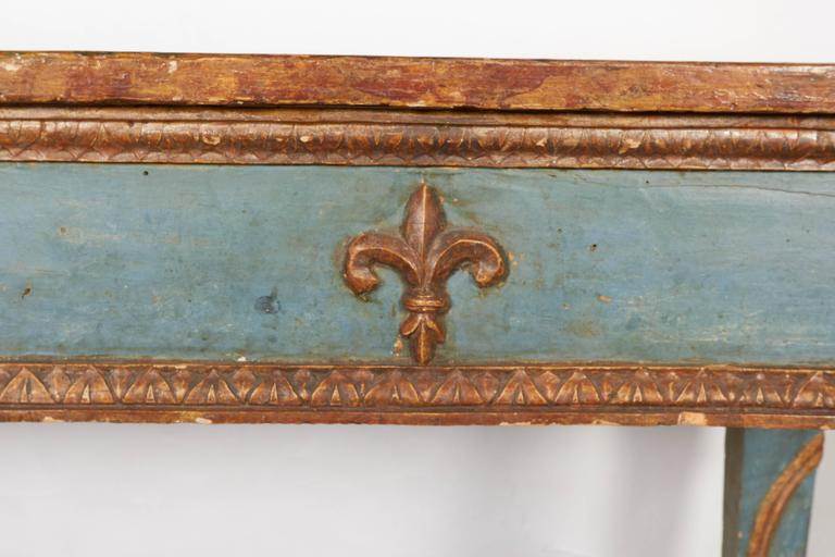 Italian Neoclassical Style Parcel-Gilt and Painted Console Table 4