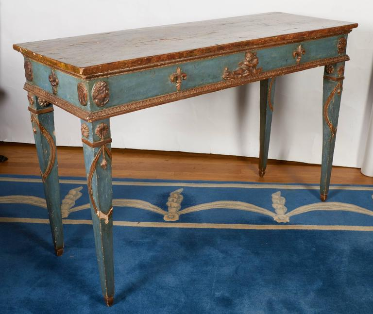 Italian Neoclassical Style Parcel-Gilt and Painted Console Table 5