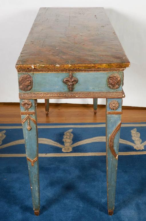 Italian Neoclassical Style Parcel-Gilt and Painted Console Table 6