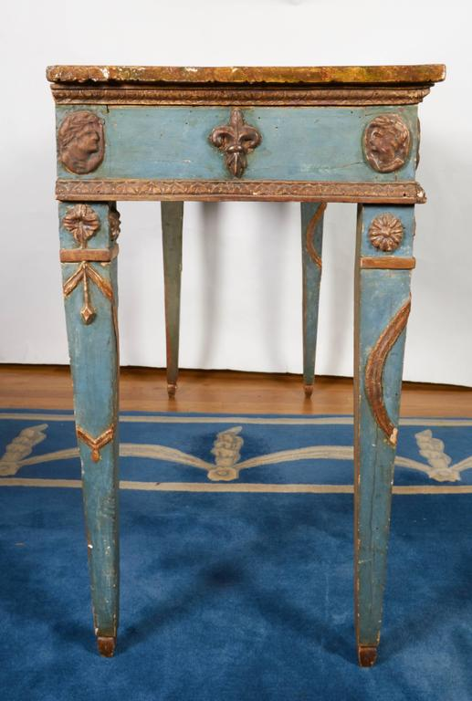 Italian Neoclassical Style Parcel-Gilt and Painted Console Table 7