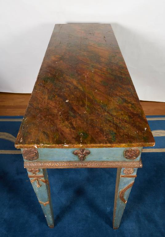 Italian Neoclassical Style Parcel-Gilt and Painted Console Table 8