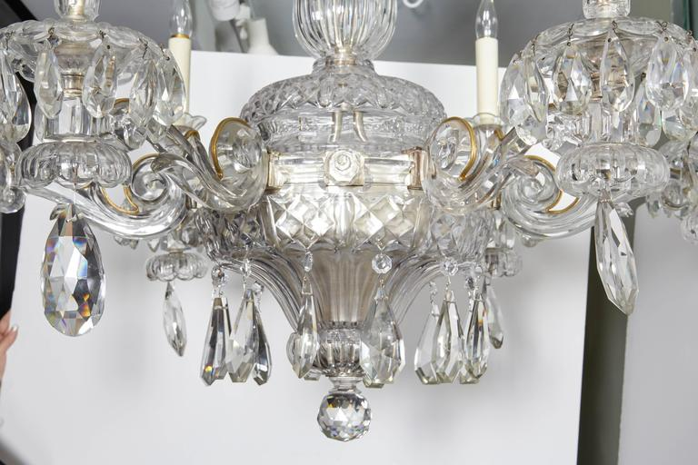 An Exceptional French Art Deco Molded and Cut-Crystal Six-Light Chandelier In Excellent Condition For Sale In New York, NY