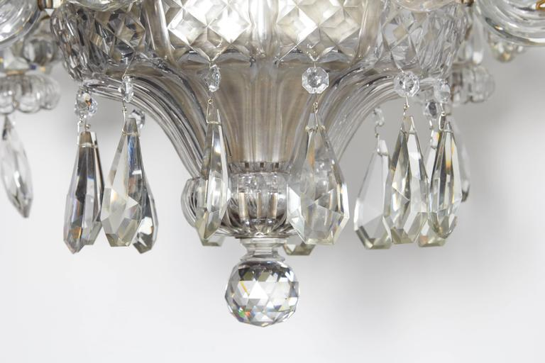 Mid-20th Century An Exceptional French Art Deco Molded and Cut-Crystal Six-Light Chandelier For Sale