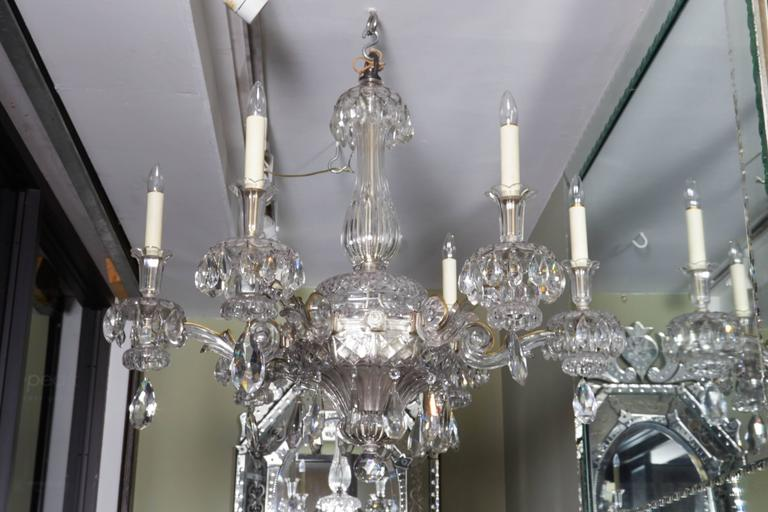 An Exceptional French Art Deco Molded and Cut-Crystal Six-Light Chandelier For Sale 2