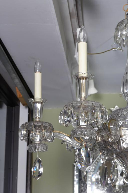 An Exceptional French Art Deco Molded and Cut-Crystal Six-Light Chandelier For Sale 3