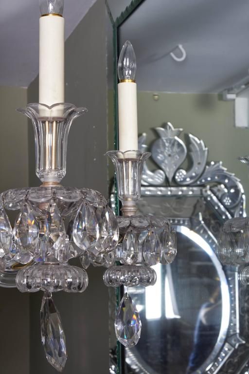 An Exceptional French Art Deco Molded and Cut-Crystal Six-Light Chandelier For Sale 4