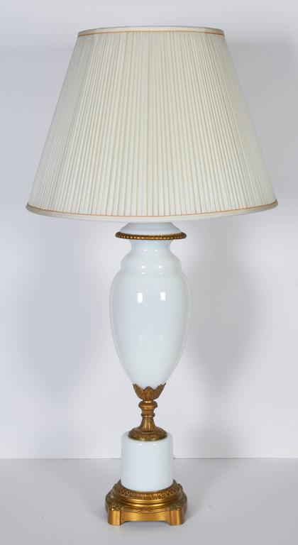 Pair of Gilt Bronze Mounted Opaline Glass Lamps 2
