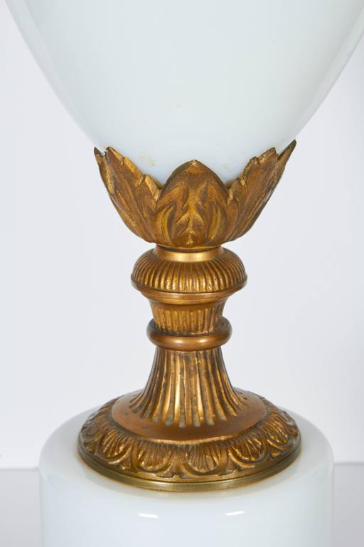 Pair of Gilt Bronze Mounted Opaline Glass Lamps In Good Condition For Sale In New York, NY